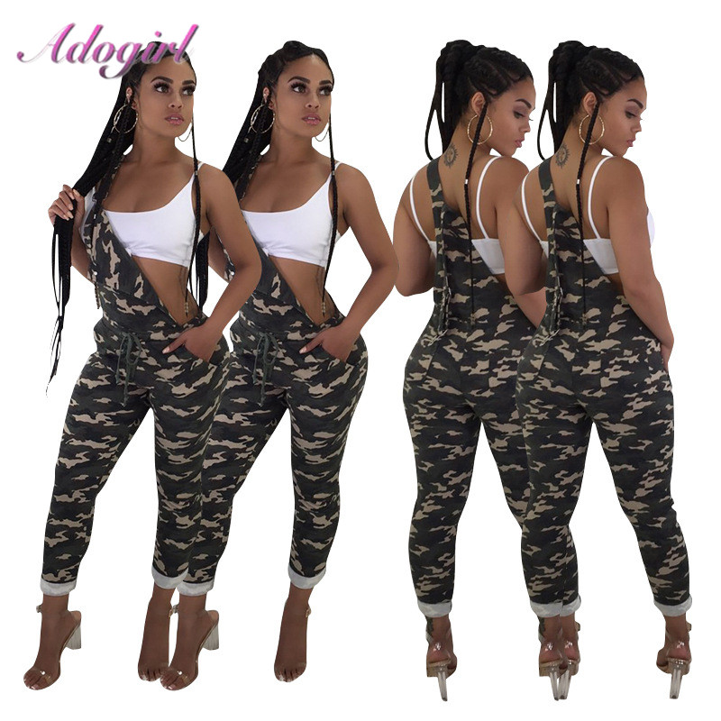 Casual Camouflage One Shoulder Hollow Out Night Party Club Jumpsuit Women Sexy Strapless Backless Streetwear Rompers Overalls