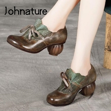Ladies Shoes Pumps Women High-Heels Retro Johnature Round-Toe Genuine-Leather Casual