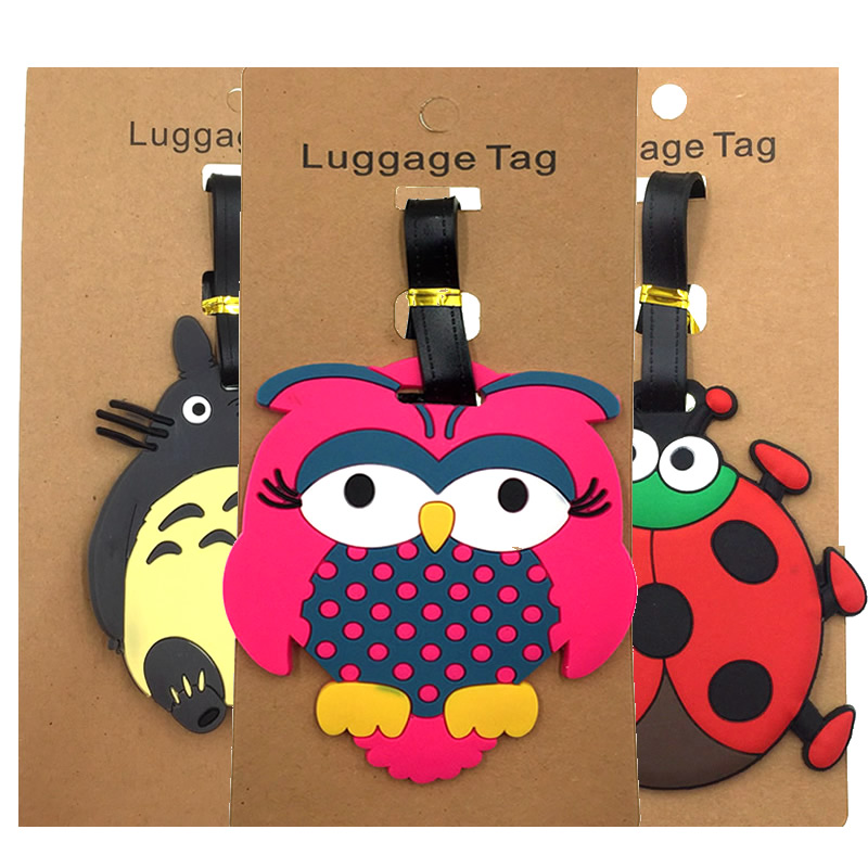 Cartoon Animal Totoro Ladybug Luggage Tags Travel Accessories Portable Suitcase Addres Holder Silica Gel Baggage Boarding Label