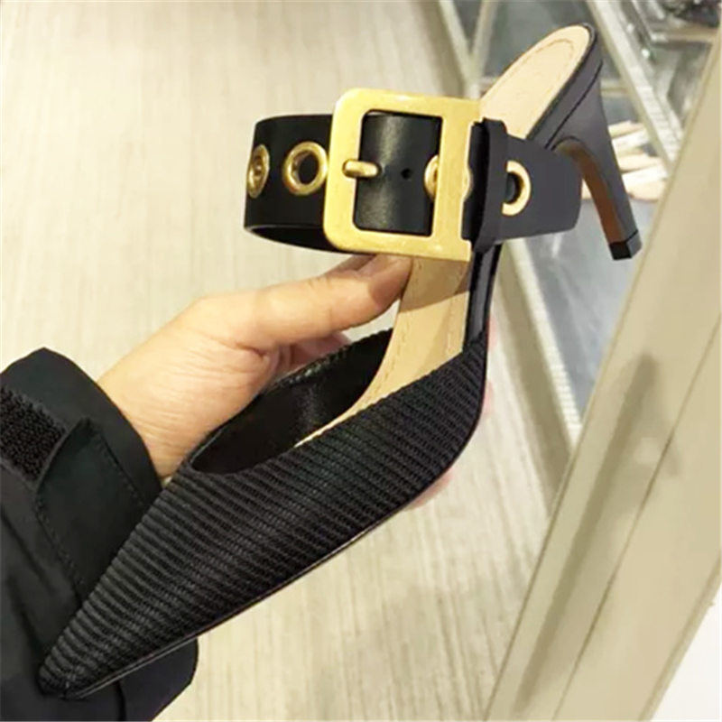 Square Buckle Pumps Women Mules Summer Pointed Toe Slip on High heeled Shoes Loafers Gold Metal Buckle High Heels Slippers Woman|Women's Pumps| | - AliExpress