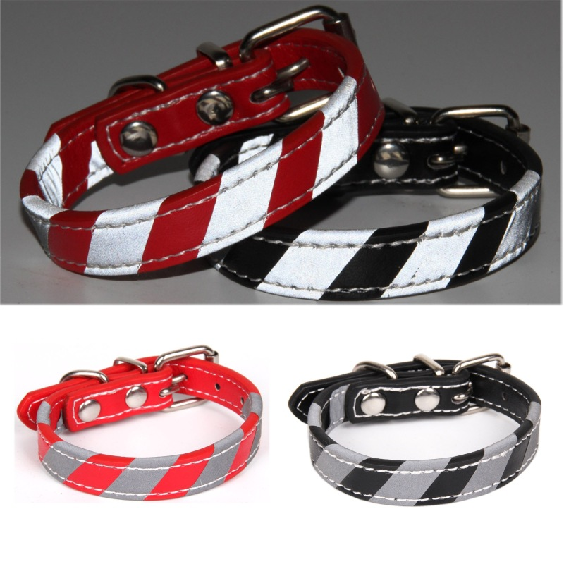 PU Fabric Reflective Strips Decoration Protection Pet Safe Dog Neck Ring Dog Traction Rope Neck Ring Light-reflecting Pet Collar