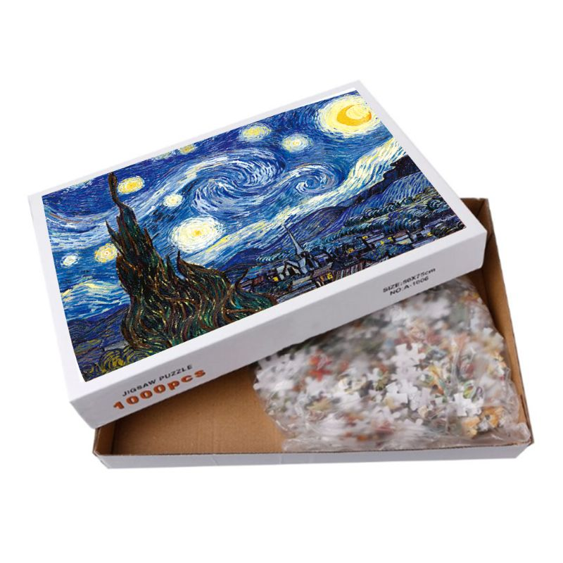 Starry Night Paper Puzzles For Adults & Kid's Challenge Jigsaw Landscape Educational Landscape Puzzles Game Play Toys 1000pcs