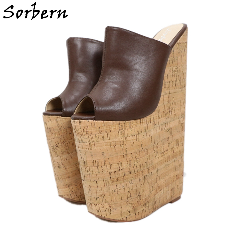 Sorbern <font><b>30Cm</b></font> Wedges Mules High <font><b>Heel</b></font> Pumps Slip On Open Toe Platform Summer Shoes For Women Crok Style <font><b>Heels</b></font> Women 2020 Custom image