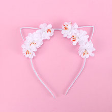 1pc Lovely Cat Ear Hair Hoop Fashion Headwear For Women Girls Cute Rose Flower Cloth Headband Rabbit Ears Charm Hair Bands(China)