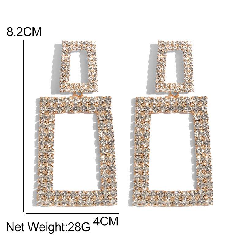 Flatfoosie Bohemian Sun Flower Drop Earrings for Women Fashion Jewelry Geometric Square Shiny Crystal Dangle Statement Earrings