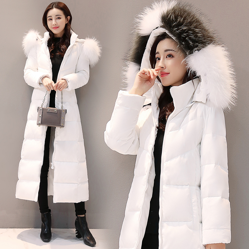 2019 Brand Large Fox Fur Duck Down Jacket Women Winter Long Coats White Duck Down Coat Abrigos Mujer Outwear Hiver 71209