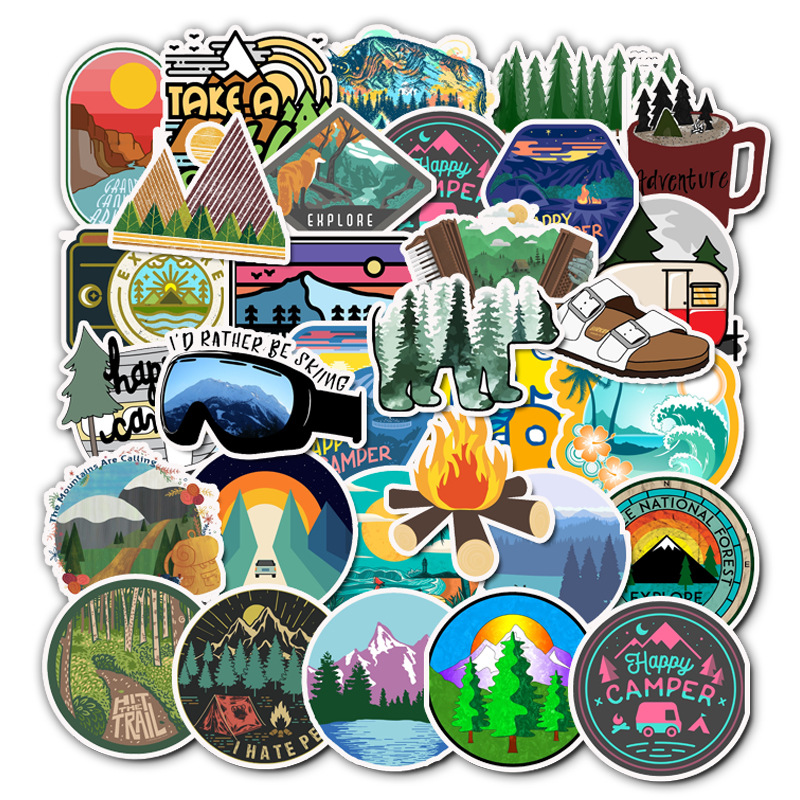 50PCS Mountain Camping Computer Stickers Wilderness Adventure Outdoor Landscape Waterproof Skateboard Decal Sticker For Notebook