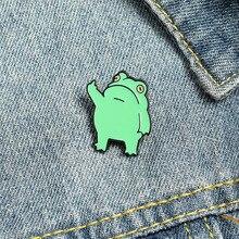 Забавная Броши лягушка зеленая эмалированная заколка в виде животного для сумок заколка для лацкана жест Аниме Матовый металлический знач...