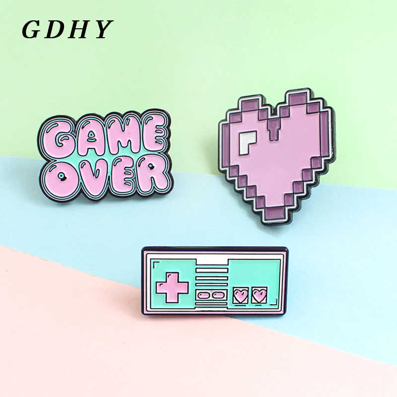 GDHY GAME OVER ! Cute Cartoon Pink Game Brooch Pink Purple Pixel Heart Game machine Enamel Pin Lapel Denim Badge Jewelry Gift