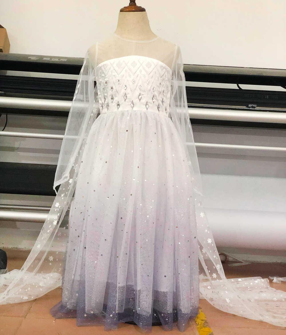 Neve Queen Ragazze Elsa Vestito Da Estate Bianco Paillettes Fata Lunga Coda di Abiti per le Ragazze Capretti Elsa Costume Del Bambino Della Principessa Dress