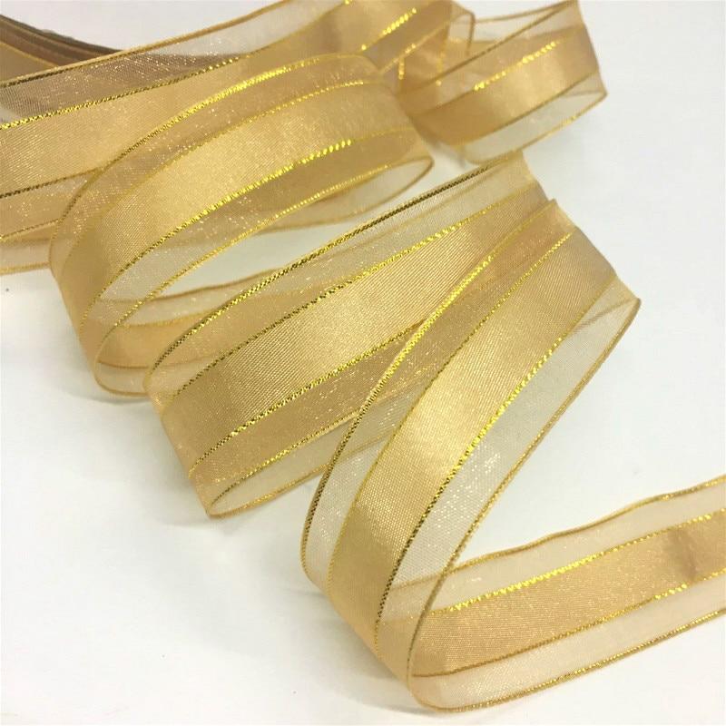 2,2 см 10Y 25 Цвет золото SilverLurex органза сатин лента для украшения ручной работы, Крафтовая Подарочная цветочная упаковка Cakebox брак Рождественск...