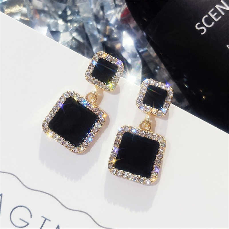 Dichiarazione Orecchini 2019 Quadrato Nero Orecchini Geometrici Per Le Donne di Cristallo di Lusso del Rhinestone di Cerimonia Nuziale Dell'orecchino di Colore Dell'oro EB447