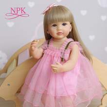 Npk 55cm reborn macio de corpo inteiro silicone doce rosto bebê boneca criança rosa menina original lifelike bebe boneca brinquedo banho à prova dwaterproof água