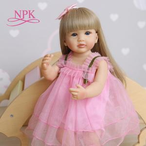 NPK 55CM reborn soft full body silicone sweet face baby doll toddler pink girl original lifelike bebe doll waterproof bath toy