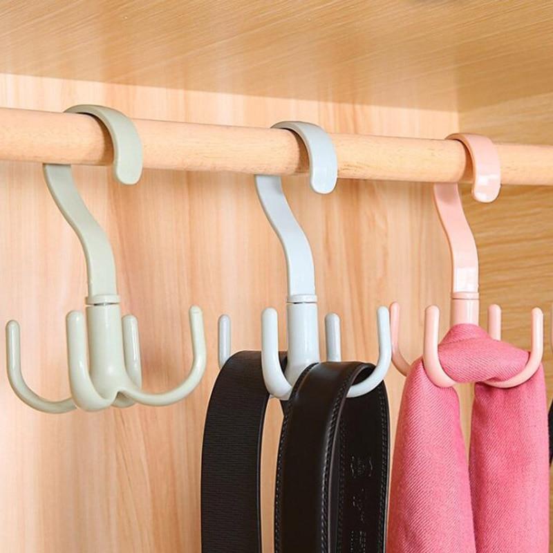 1PCS Rotary 4-claw Multi-purpose Hanger Hook Hanger, Tie, Scarf, Clothes Hanger, Plastic Hook Shoe Hanger