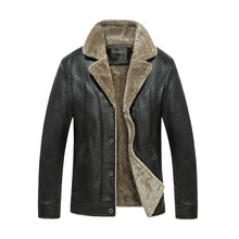 Mens Faux Fur Coats and Jacket Winter Motorcycle Leather Leather Jacket Men Solid Fleece Warm Windbreaker Jackets Plus Size 4XL цена 2017