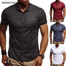 Puimentiua 2019 męskie koszule w szkocką kratę Fitness ubranie koszule jednolita moda społeczne koszule na co dzień dla mężczyzn elegancka typu slim koszule męskie tanie tanio Poliester COTTON Krótki Skręcić w dół kołnierz Pojedyncze piersi REGULAR Shirt Suknem Stałe M L XL 2XL 3XL Summer