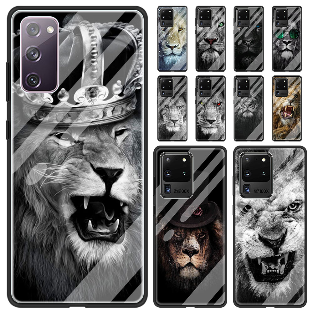 Case For Samsung Galaxy S21 S20 FE S8 S9 S10 Lite S10E Tempered Glass Note 8 9 10 20 Ultra Plus 5G Coque Cute The Lion