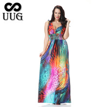 UUG Womens Maxi Long Dresses Plus Size 5xl 6xl Large Beach Sundress Sleeveless Big Bohemian 4xl Slim XXXL Boho Dress Summer 2018(China)