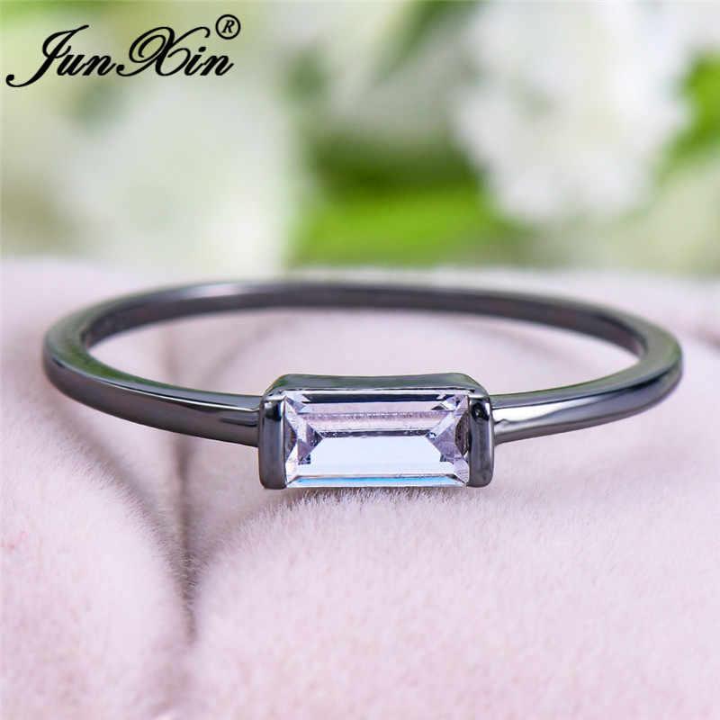 Anillo de boda minimalista para mujer, pequeña y delicada sortija de cristal rectangular, oro blanco, negro, oro, rojo y azul, piedras apilables