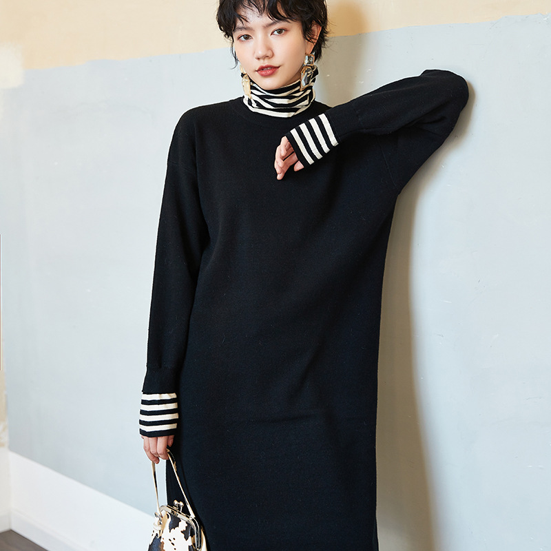 S1112 Winter New Products WOMEN'S Dress Stripes Contrast Color Skirt Elegant High Lapel Slit Dress Women's
