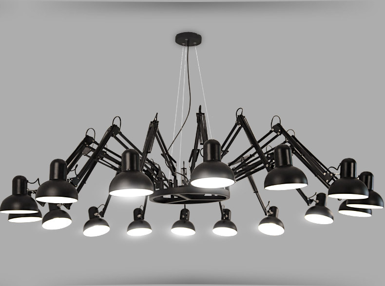 Black White Vintage Spider Iron Chandelier Industrial Metal Hanging Lamp For Indoor Decoration