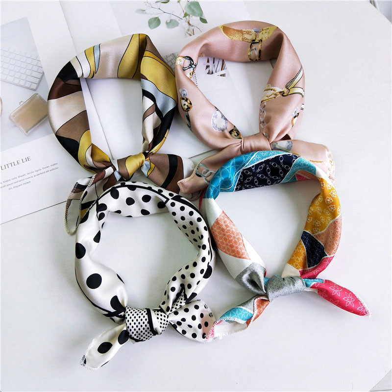 50*50cm Hair Scarf Tie Swing Print Luxury Satin Small Square Silk Neck Ring Scarf Winter Head Scarf For Women Neckerchief 2109