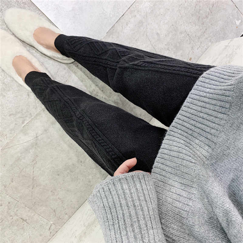 Baru Fashion 2019 Wanita Musim Dingin Rajutan Celana Harem Tebal Longgar Serut Elastis Tinggi Pinggang Tipis Wol Celana Wanita
