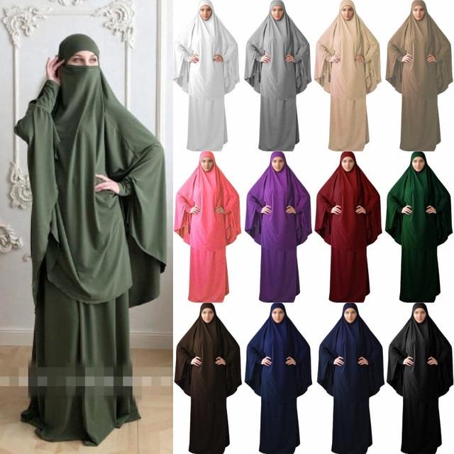Mega Discount 5072 2pcs Muslim Prayer Garment Abaya Set Women Niqab Burka Saudi Arabia Hijab Long Khimar Ramadan Jilbab Skirts Amadan Worship Robe Cicig Co