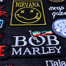 Pulaqi Metal Band Patch Nirvana Cloth Patches Embroidered For Clothing Applique Stripe Rock Bands Badges Iron on