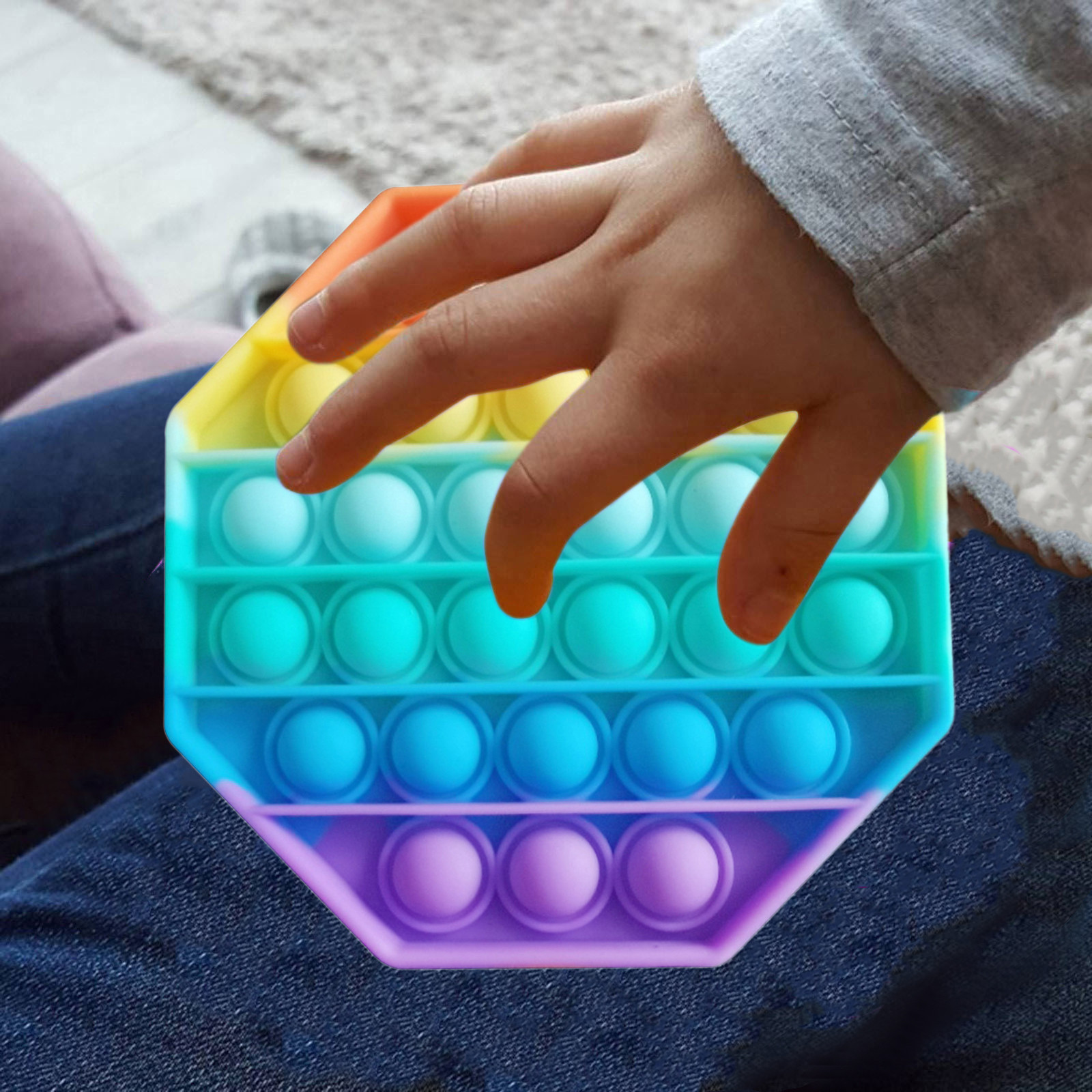 Pop Fidget Reliver Stress Toys Rainbow Push It Bubble Antistress Toys Adult Children Sensory Toy To Relieve Autism Free Shipping img5