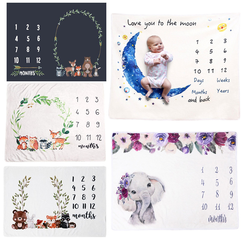 6.12US $ 34% OFF Flannel Baby Milestone Blanket Newborn Photo Shooting  Background Infants Monthly G...