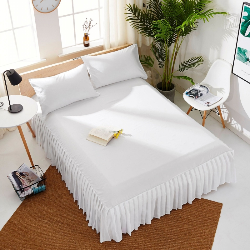 Pleated Bed Skirt With Surface Solid Color Twin Queen King Size Bed Cover Beauty Salon Dust-proof Mattress Cover