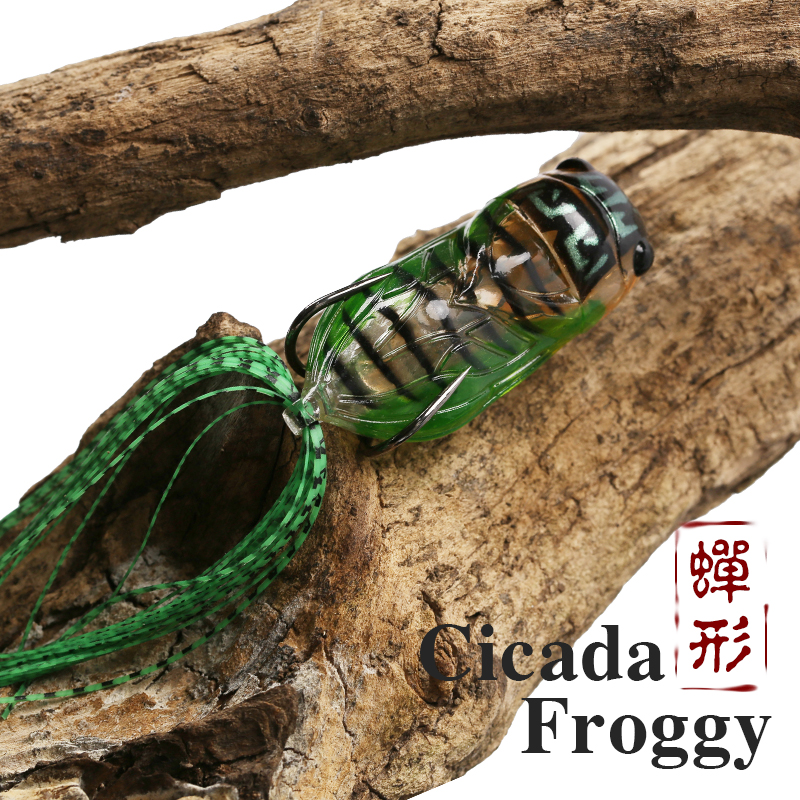 TSURINOYA Frog LY21 Cicada Froggy 15.5g 65mm Artificial Soft Popper Fishing Lure Topwater Frogs Baits Snakehead