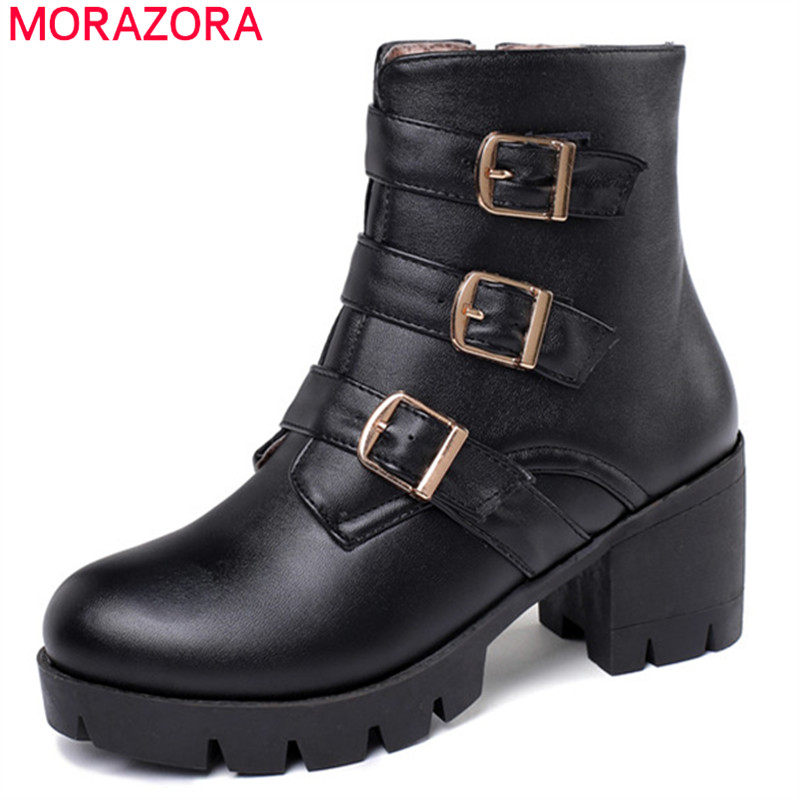 MORAZORA 2020 new arrival women ankle boots buckle zip autumn winter high heels platform boots fashion casual shoes ladies-in Ankle Boots from Shoes
