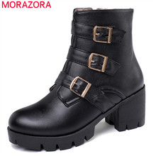 MORAZORA 2020 new arrival women ankle boots buckle zip autumn winter high heels platform boots fashion casual shoes ladies