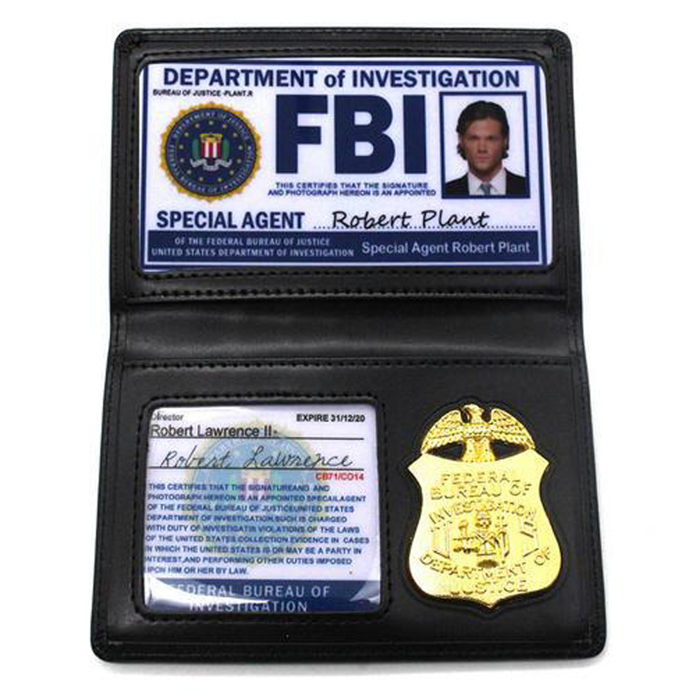 Kids Theme Party Cosplay Playing Toys Dean Sam Winchester FBI Metal Badge Card Holder <font><b>Police</b></font> ID Cards Wallets Holder Tool Gift image