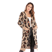 New cardigan sweater leopard knit jacket womens long-sleeved round neck long with pocket