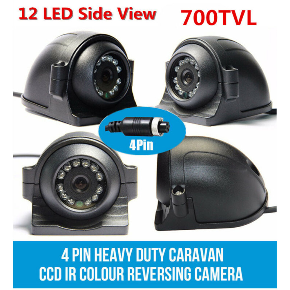 4-PIN Car Night Vision Camera 4Pin 700 TVL IR 12-LED Side View Color Camera 12V 24V For Truck Trailer Bus RV PAL Video System