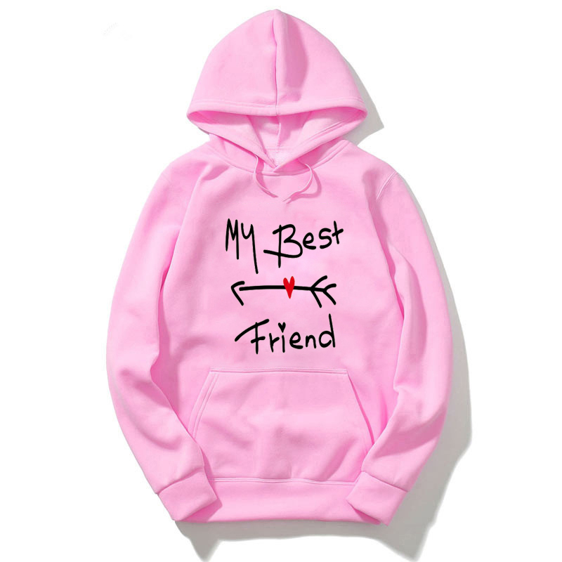 Women Hooded Pullovers Bff My Best Friend Funny Printed Hoodies Long Sleeve Plus Size Casual Female Sweatshirts Hoody Outfits