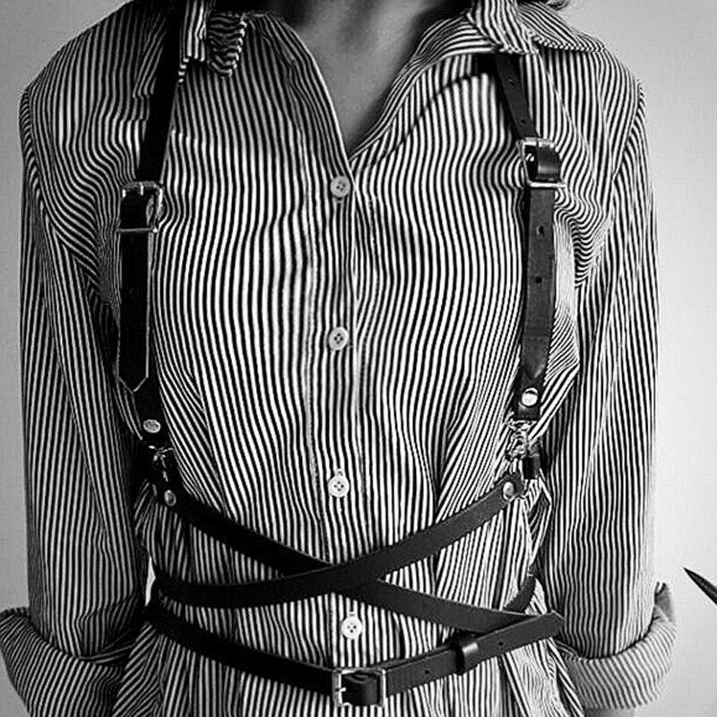 Sexy Women Suspenders Black Harajuku Gothic Lingerie Adjustable Bondage Body Harness Waist Belts Transparent Rainbow Punk Belt