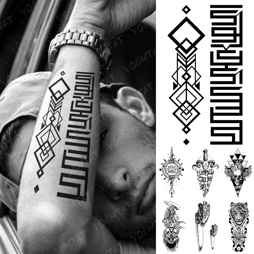 Waterproof Temporary Tattoo Sticker Black Square Totem Flash Tattoos Tiger Stereo Totem Body Art Arm Fake Tatoo Women Men