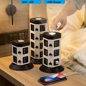 Image 3 - Башня Мощность полосы (цифровое управление) Вертикальная Розетка 7/11/15 розетка с двумя USB розеток Удлинительный шнур светодиодный освещения