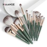 MAANGE 14 stücke Make-Up Pinsel Set Grün Große Lose Pulver Hochglanz Lidschatten Foundation Contour Synthetische Haar Kosmetische Werkzeuge