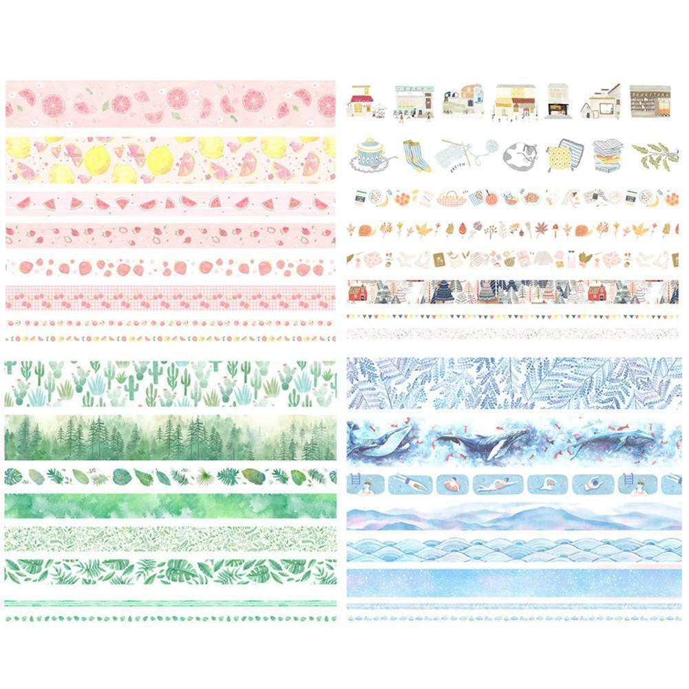 8 Pcs/pack Washi Tape Set Green Leaves Cactus Bullet Label Journal Tape Tapes DIY Adhesive Sticker Masking Scrapbooking M8H1