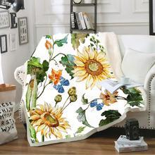 Butterfly Flower Throw Blanket Soft Sherpa Fleece Blankets Girls Kids for Picnic Travel Bed Sofa Cover Winter Sheet