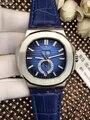Luxus Marke Neue Automatische Mechanische Männer Uhr Sapphire DayDate Transparent Glas Mondphase Uhren Schwarz Blau Leder Weiß