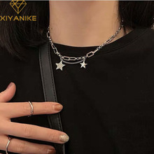 XIYANIKE 925 Sterling Silver Punk Sweater Chain Necklace for Women Vintage Trendy Stars Thai Silver Jewelry Party Accessories