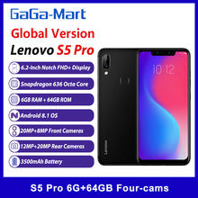 Versão global lenovo s5 pro telefone móvel 6.2 polegadas 6gb 64gb fhd + 1080p 20mp quatro cames 8-core 3500mah 4g lte desbloquear smartphone