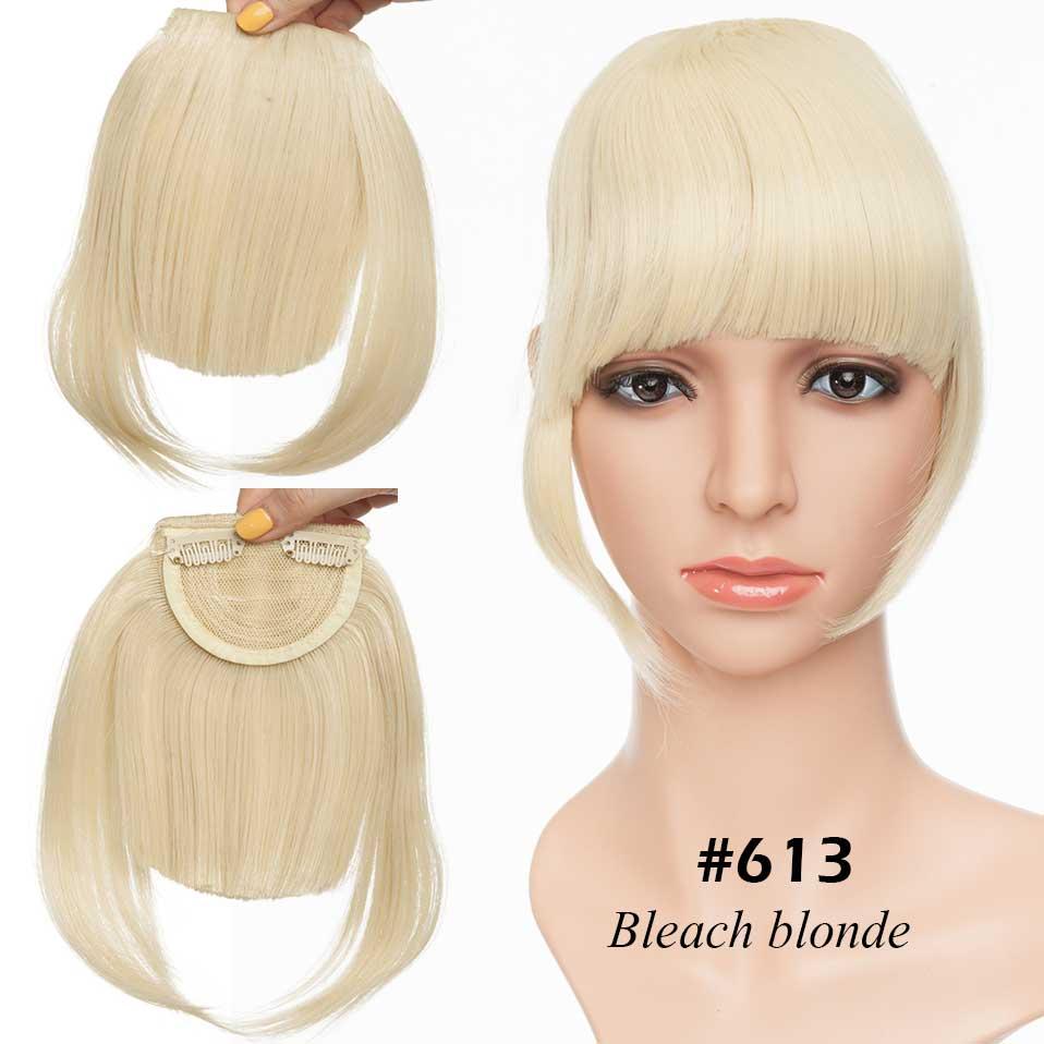 SNOILITE короткие передние тупые челки Клип короткая челка волосы для наращивания прямые синтетические настоящие натуральные накладные волосы - Цвет: bleach blonde